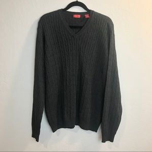 IZOD Charcoal Grey Pullover V-Neck Sweater Sz.L